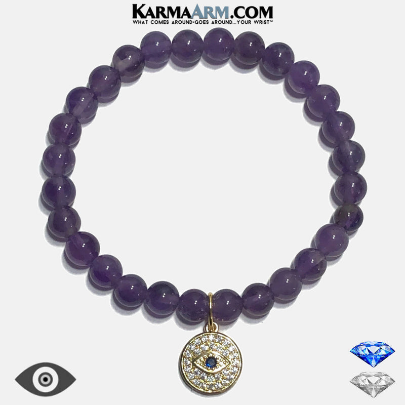 Evil Eye Meditation Mantra Yoga Bracelets. Mens Wristband Jewelry. Amethyst. copy