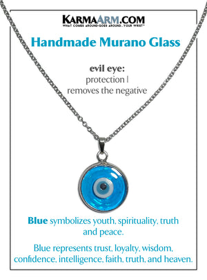 Evil Eye Necklace. Lucky Charm JuJu jewelry.  Murano Glass Turkish Evil Lucky Eye. Turquoise Blue.
