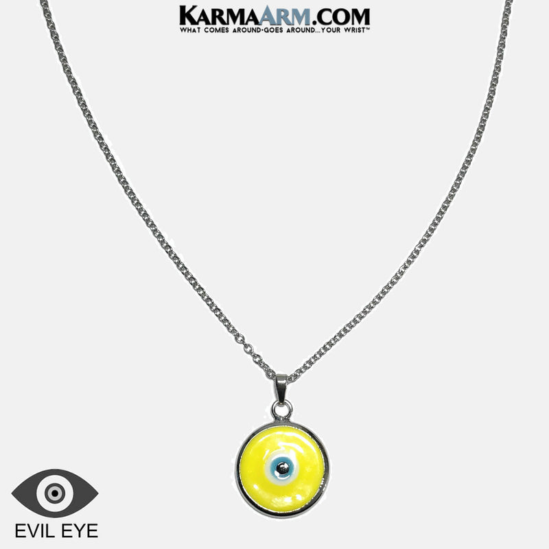 Evil Eye Necklace. Lucky Charm JuJu jewelry.  Murano Glass Turkish Evil Lucky Eye. Yellow.