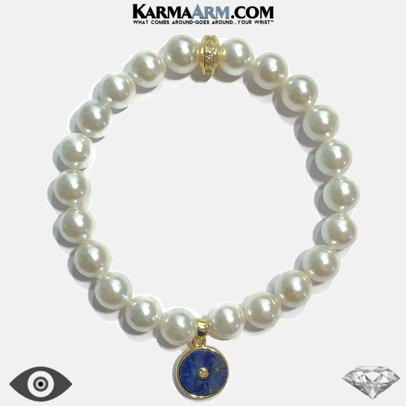 GODDESS ENERGY | White Shell Pearl | CZ Diamond | Lapis Evil Eye Bracelet