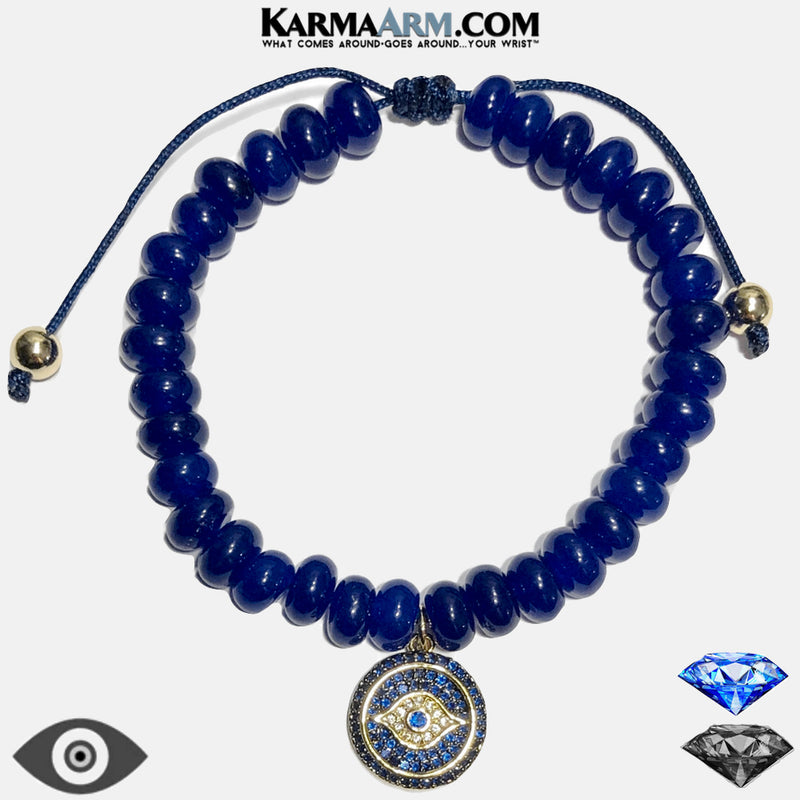 Bracelet Evil Eye Sapphire Blue Meditation Mantra Yoga Bracelets. Mens Wristband Jewelry. Blue Jade CZ Diamond.