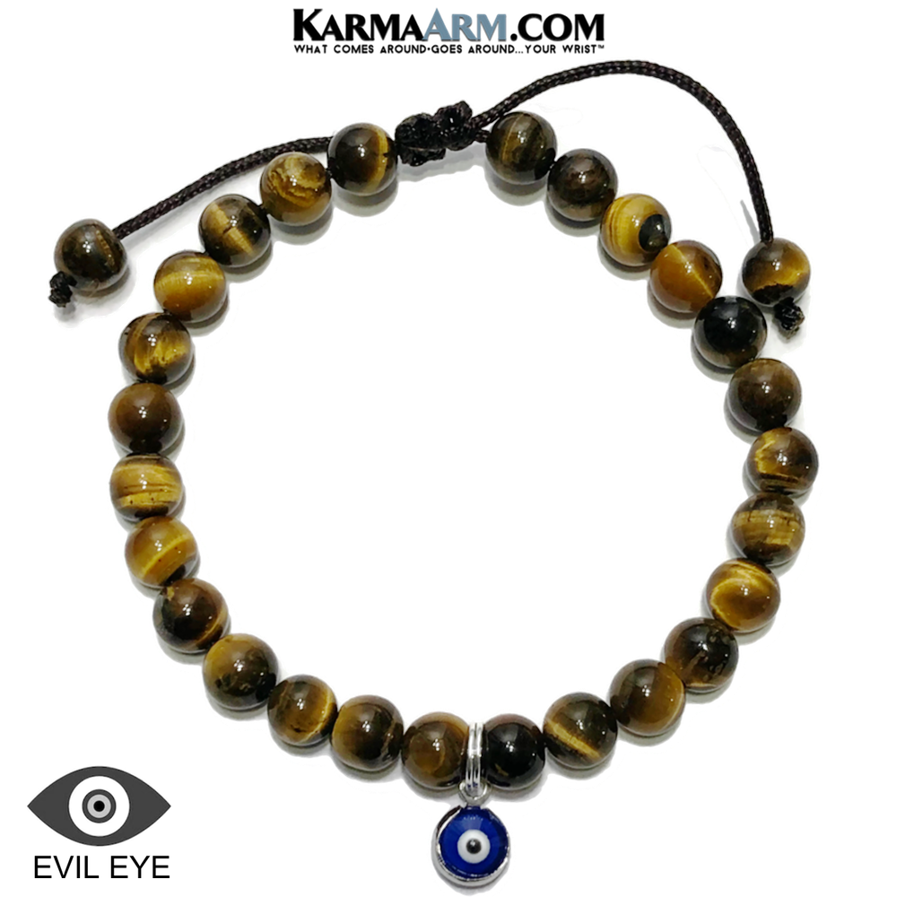 Evil Eye Enamel Charrm Meditation Self-care wellness Mantra Yoga Bracelets. Mens Wristband Jewelry. Tiger Eye.