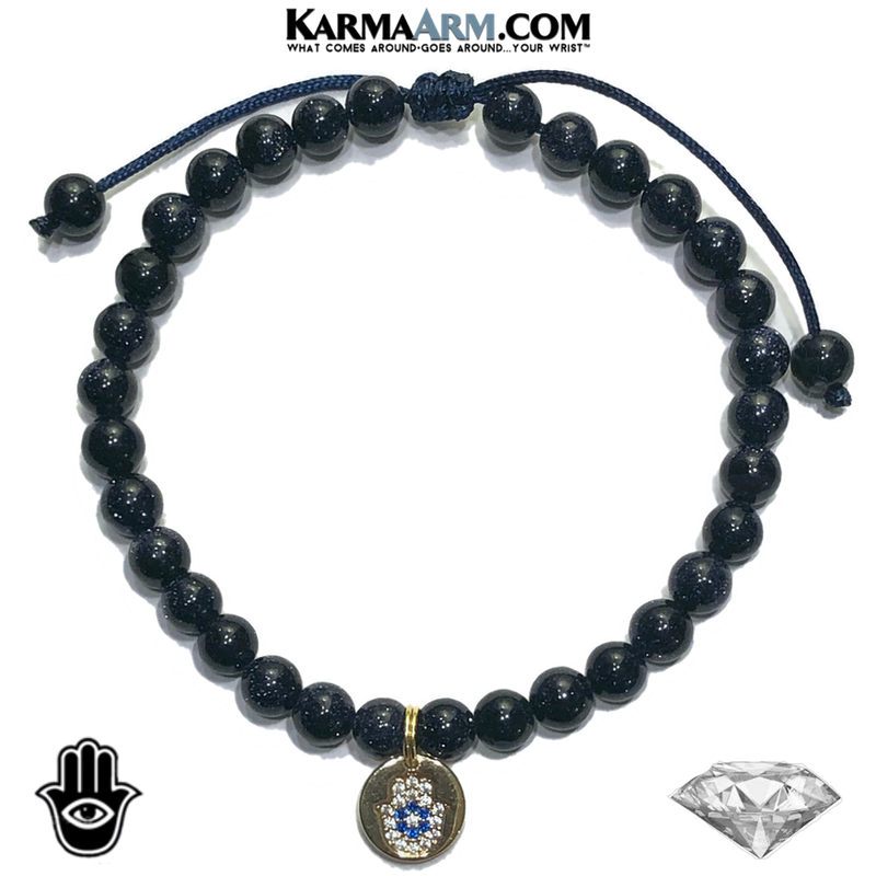 HAPPY GO LUCKY | Blue Goldstone | Sapphire CZ Diamond Hamsa Hand | Evil Eye Adjustable Pull-Tie Bracelet
