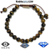 Evil Eye Meditation Mantra Self-Care Wellness Yoga Bracelets. Mens Wristband Jewelry. Tiger Eye.