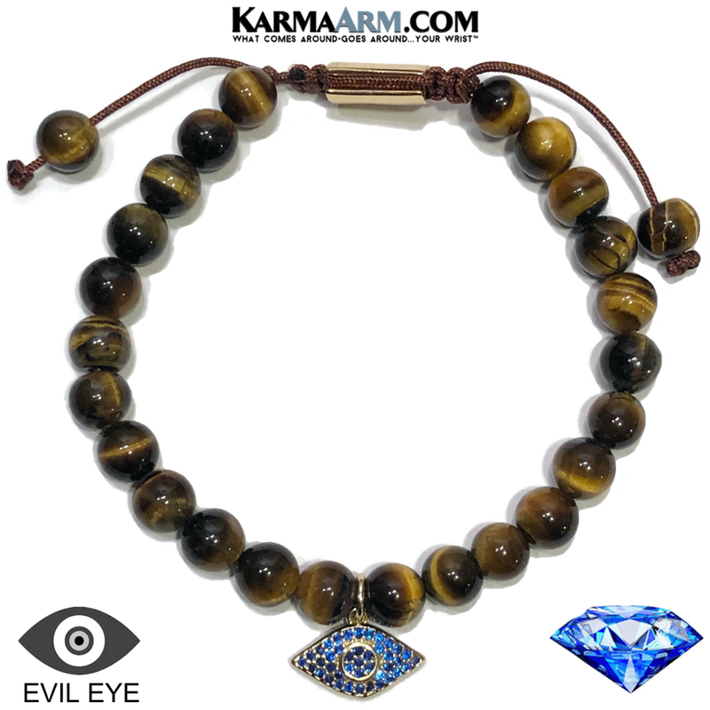 PROTECTED | Tiger Eye | Sapphire Blue CZ Diamond Evil Eye Charm Bracelet