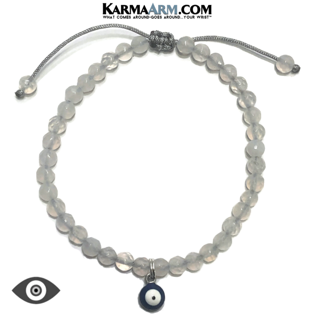 Evil Eye Meditation Mantra Yoga Bracelet. Self-Care Wellness Wristband White Jade.