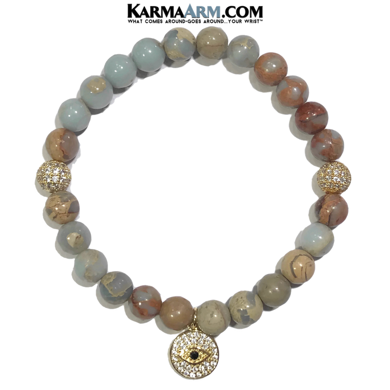 Evil Eye Meditation Mantra Yoga Bracelets. Mens Wristband Jewelry. Aqua Terra Jasper.