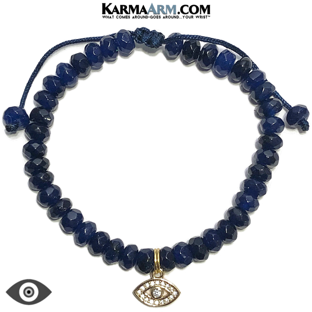 Evil Eye Meditation Mantra Yoga Bracelets. Mens Wristband Jewelry. Blue Jade.