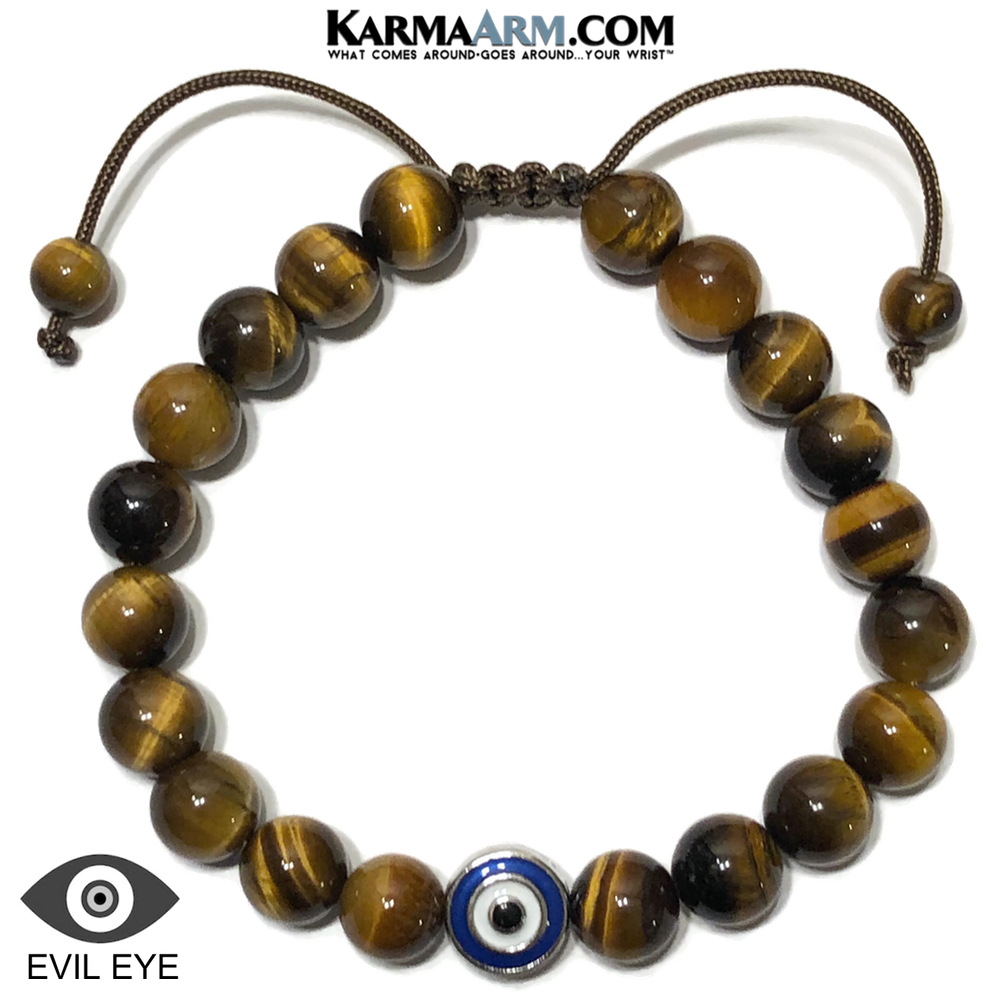 Evil Eye Meditation Self-care wellness Mantra Yoga Bracelets. Mens Wristband Jewelry. Tiger Eye.