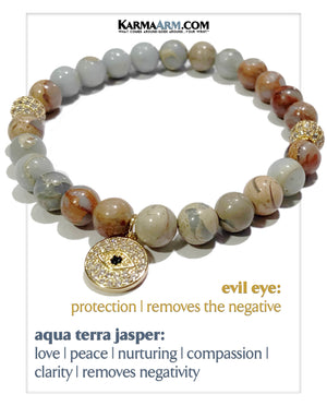 Evil Eye Self-Care Meditation Mantra Yoga Bracelets. Mens Wristband Jewelry. Aqua Terra Jasper.