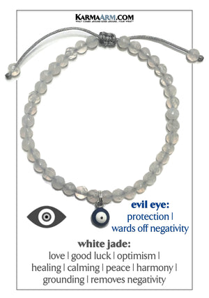 Evil Eye Self-Care Wellness Meditation Mantra Yoga Bracelet Wristband White Jade.