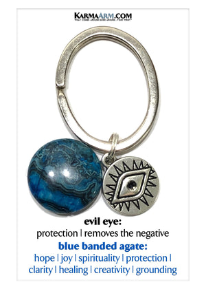 Evil Eye Wellness Self-Care Meditation Mantra Yoga Bracelets. Mens Wristband Jewelry. Blue Banded Agate.