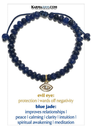 Evil Eye Wellness Self-Care Meditation Mantra Yoga Bracelets. Mens Wristband Jewelry. Blue Jade.