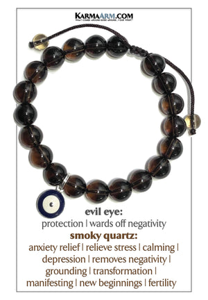 Evil Eye Meditation Mens Bracelet. Self-Care Wellness Wristband Yoga Jewelry. Smoky Quartz.