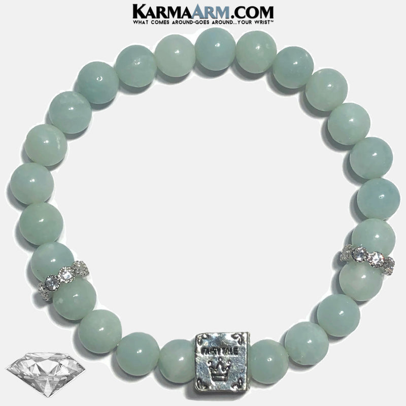 FAIRYTALE Meditation Mantra Yoga Bracelets. Mens Wristband Jewelry. Blue Amazonite.