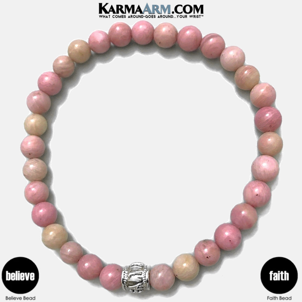 FAITH Mantra Yoga Bracelets. self-care wellness meditation wristband jewelry.   Rhodochrosite.