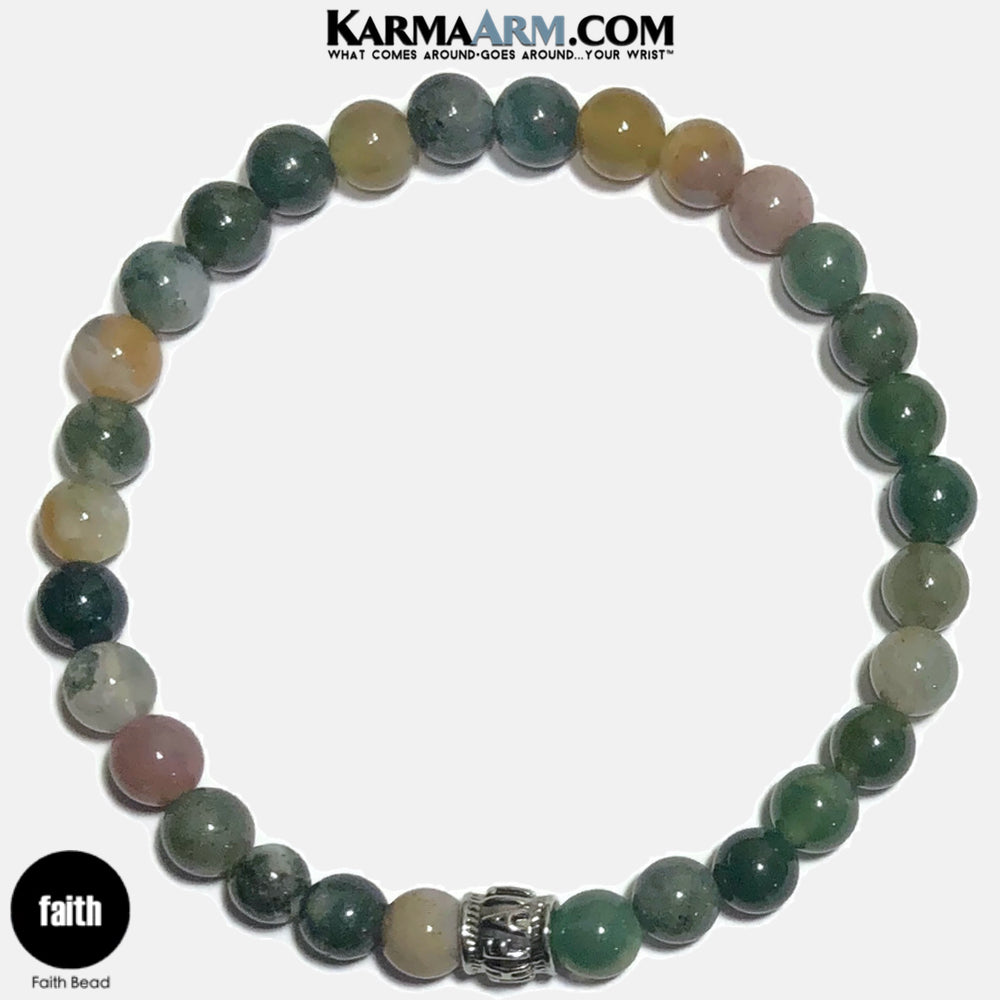 FAITH Meditation Mantra Yoga Bracelets. Self Care Wellness Wristband Jewelry. Indian Agate. copy