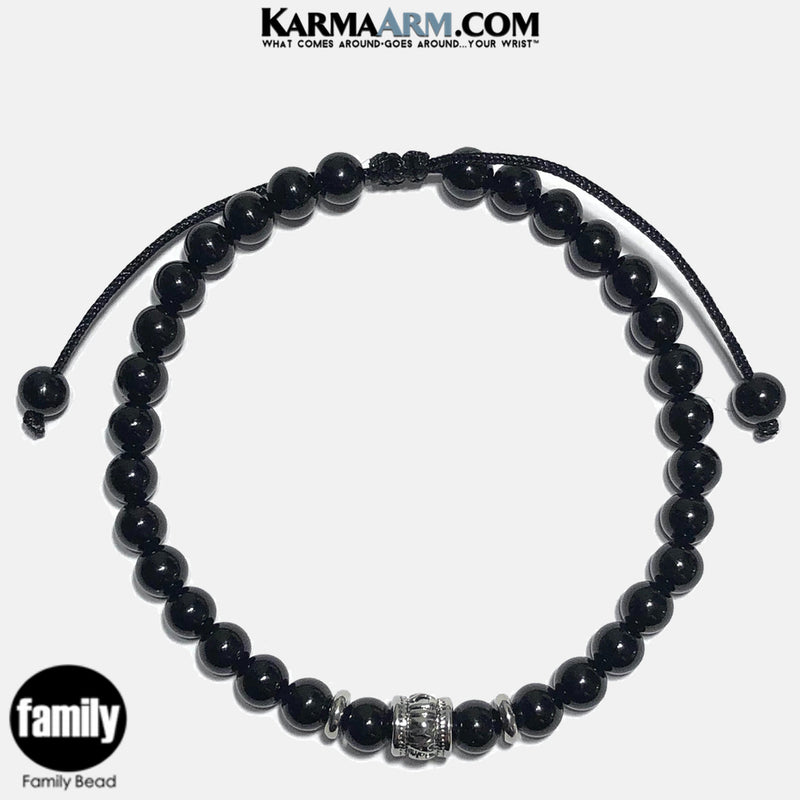 FAMILY BEAD  Wellness Self-Care Meditation Yoga Bracelets. Mens Wristband Jewelry. Black Onyx.