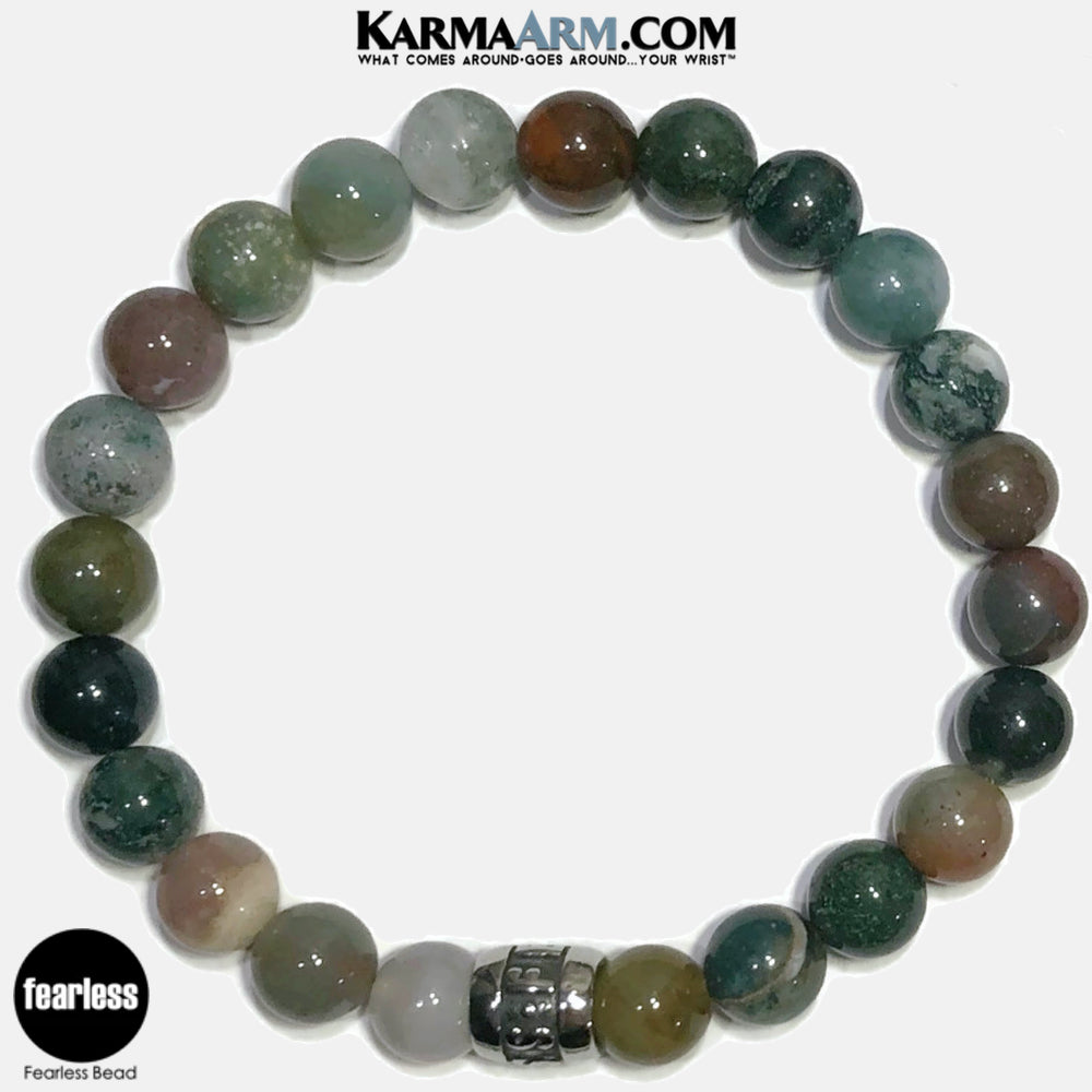 FEARLESS Meditation Mantra Yoga Bracelets. Self-Care Wellness Wristband Jewelry. Indian Agate.