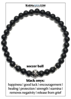 FIFA Soccer Football Sports Fitness Yoga Bracelets. Mens Wristband Jewelry. 6mm Black Onyx.