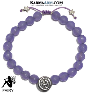Fairy Meditation Mantra Yoga Bracelets. Mens Wristband Jewelry. Purple Jade.