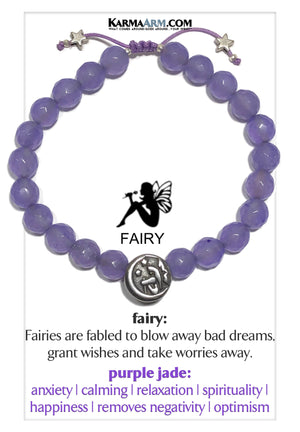 Fairy Wellness Meditation Self-Care Anxiety Yoga Bracelets. Mens Wristband Jewelry. Purple Jade.
