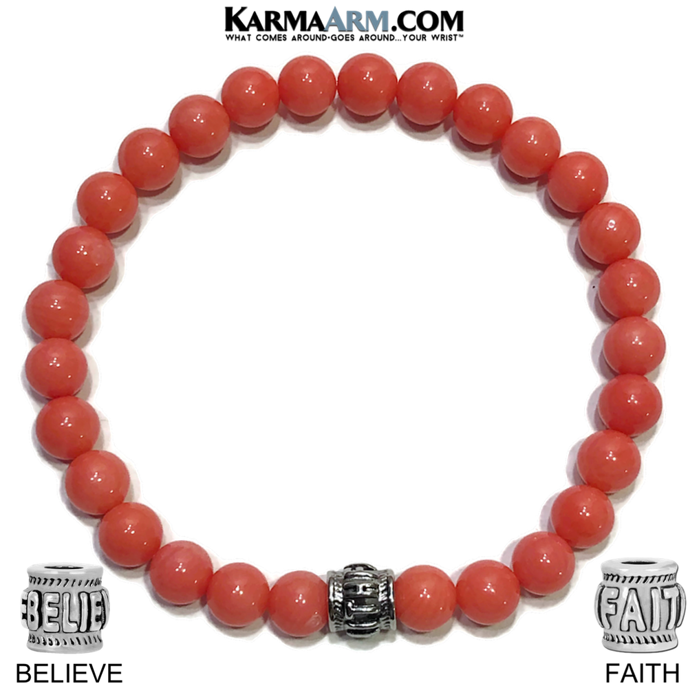 Faith Believe Meditation Self-Care Wellness Yoga Bracelets. Mens Wristband Jewelry. Pink Coral.
