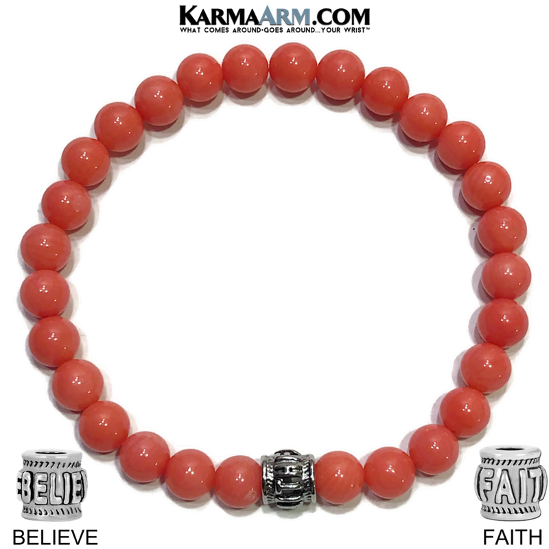 Bead Meditation Self-Care Wellness Yoga Bracelets. Mens Wristband Jewelry. Pink Coral.