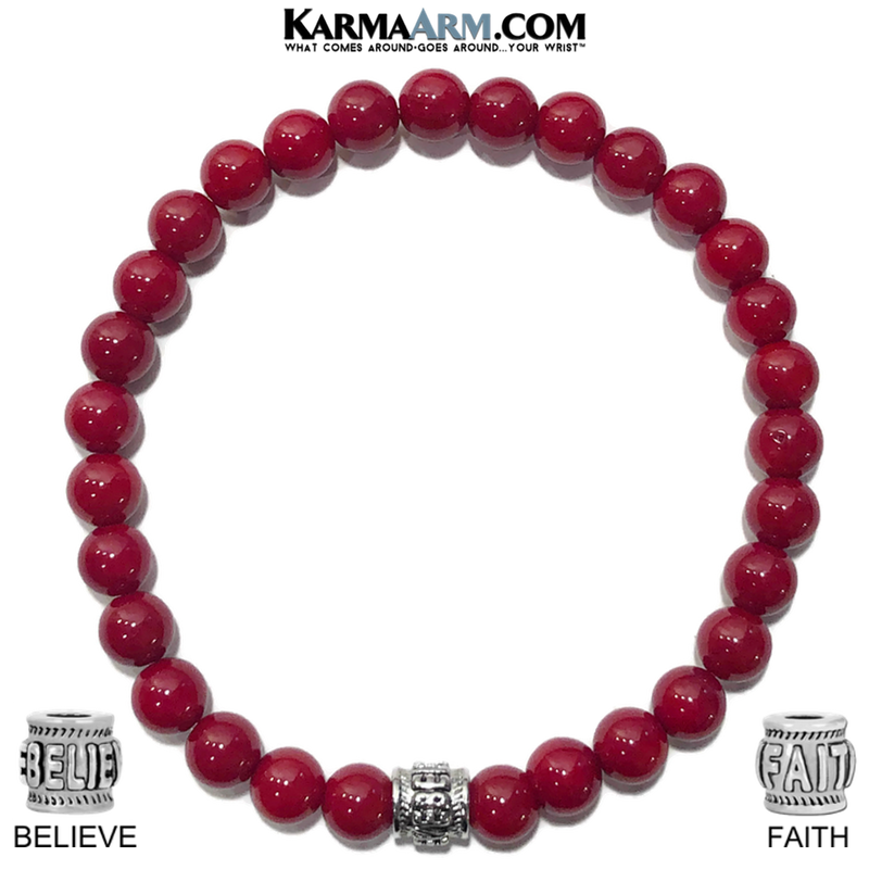 Faith Believe Meditation Yoga Bracelet. Mens Self-Care Wellness Wristband Jewelry. Red Coral.