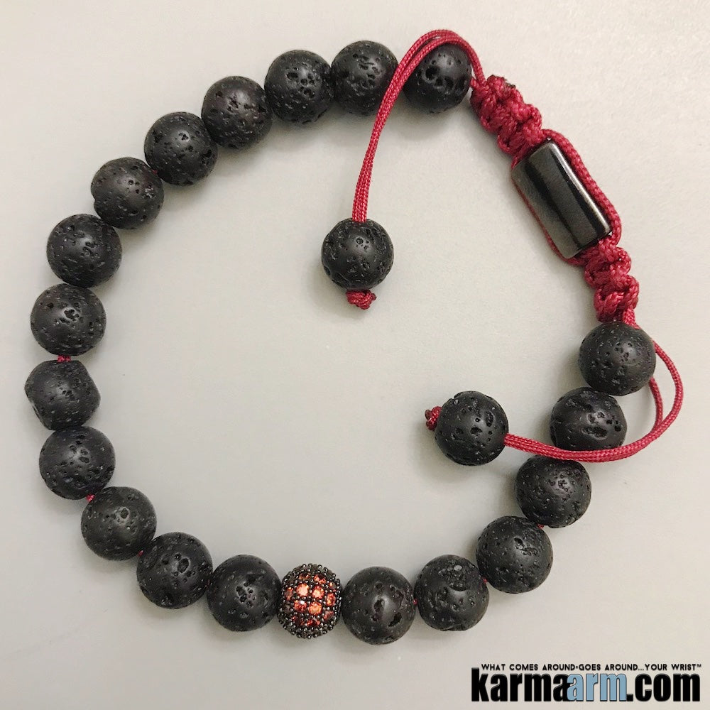 Mens Beaded Bracelet. Lava Fertility Chakra Mala Stretch Yoga Jewelry.