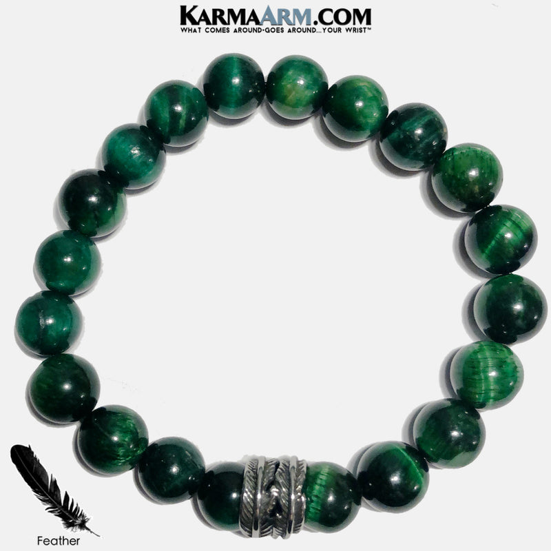 Feather Meditation Mantra Yoga Bracelets. Self-Care Wellness Wristband Jewelry. Green Tiger Eye. copy