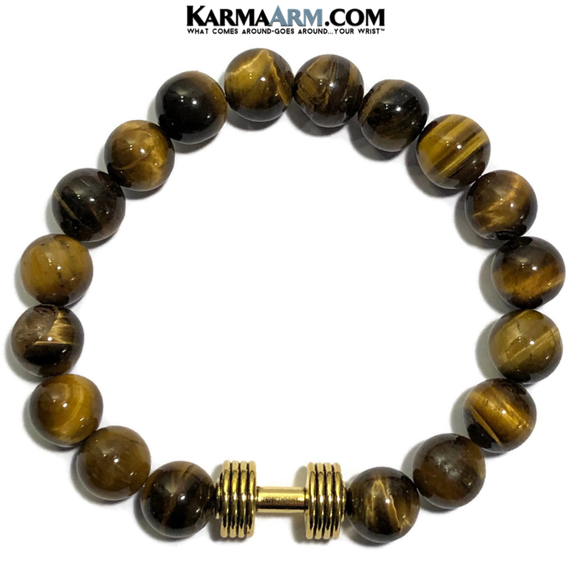 Fitness Bracelet. Barbell Dumbbell Meditation Self-Care Wellness Wristband Zen Jewelry.  Tiger eye.