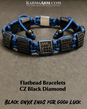 Flat Bead Bracelets. CZ Diamond.. FlatBeads Jewelry. Gifts Love Stretch Mala. Mens Beaded Chakra Jewelry. Blue....