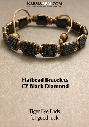 Flat Bead Bracelets. CZ Diamond. FlatBeads Jewelry. Gifts Love Stretch Mala. Mens Beaded Chakra Jewelry.  TIGER EYE.