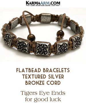 Flat bead Bracelets. Flat Beads Mens  Jewelry. Silver Textured. Bronze Nylon Cord.