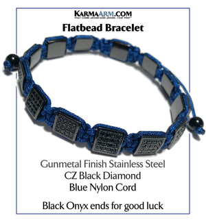 Flatbead Flat Bead Wristband Mantra Yoga Bracelet. Meditation  Jewelry.Black CZ Diamond Blue Cord.  copy