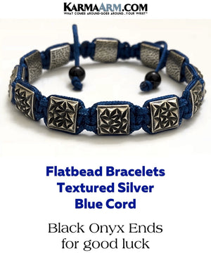 Flat bead Bracelets. FlatBeads Mens Jewelry. Silver Textured. Blue Nylon Cord.