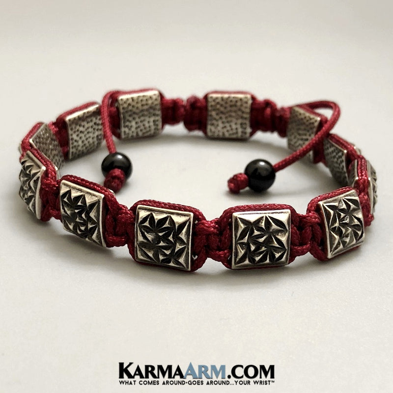 Flat bead Bracelets. Flat Beads Mens  Jewelry. Silver Textured. Red Nylon Cord.