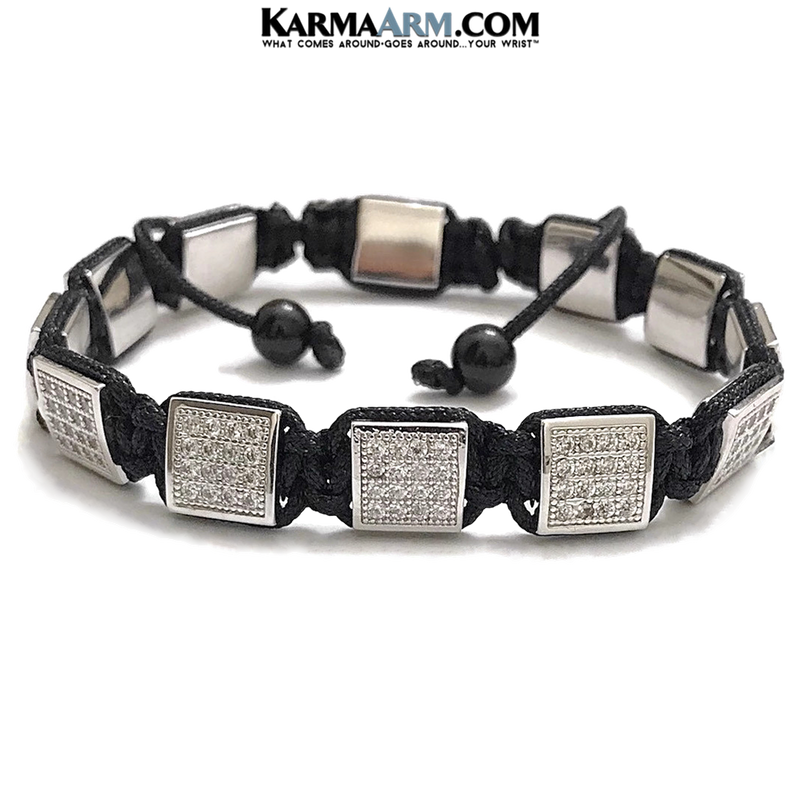 Flatbead Flat Bead Wristband Mantra Yoga Bracelet. Meditation  Jewelry.CZ Diamond Black Cord.