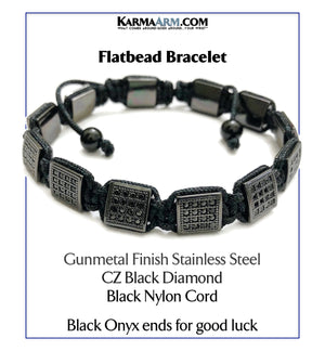 Flatbead Flat Bead Wristband Mantra Yoga Bracelet. Meditation  Jewelry. Black CZ Diamond Black Cord.