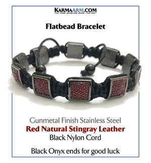 Flatbead Flat Bead Wristband Mantra Yoga Bracelet. Meditation  Jewelry. Red Stingray Leather Gunmetal Black Cord.