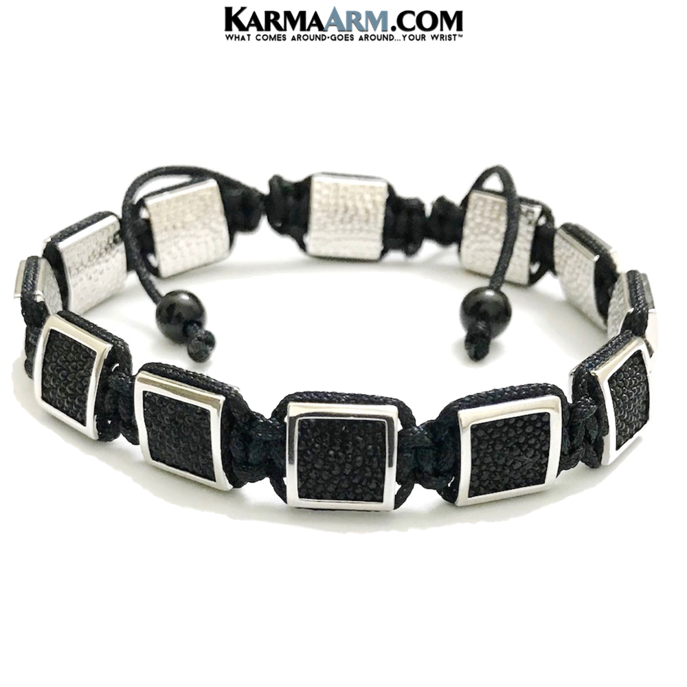 Flatbead Flat Bead Wristband Mantra Yoga Bracelet. Meditation  Jewelry. Stingray Leather White Gold Black Cord.