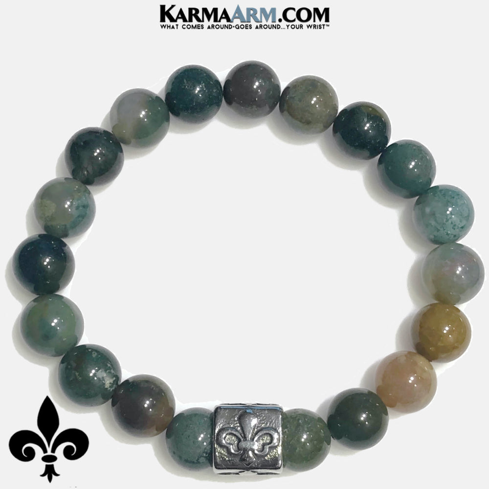 Self-Care Wellness Meditation Mantra Yoga Bracelets. Mens Wristband Jewelry. India Agate.