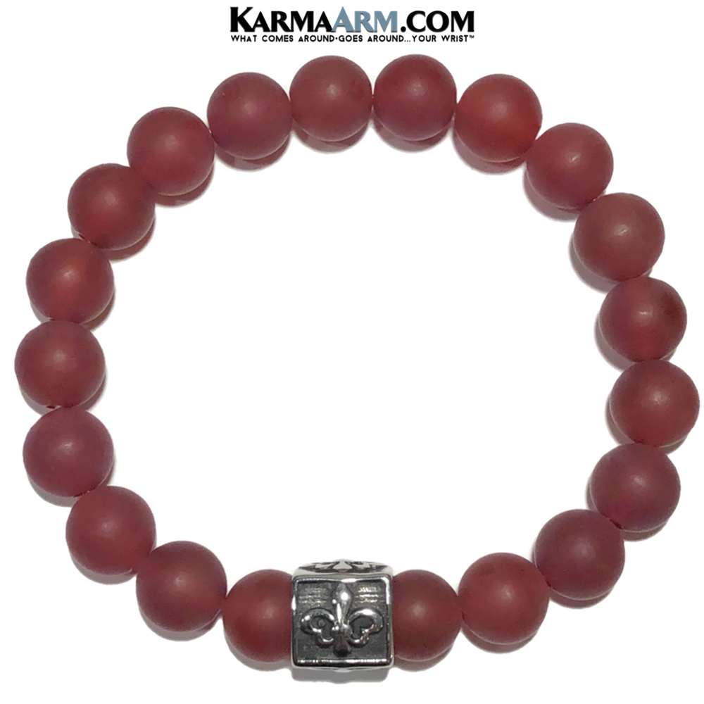 Fleur de Lis Meditation Mantra Yoga Bracelet. Self-Care Wellness Wristband Jewelry. Red Agate.