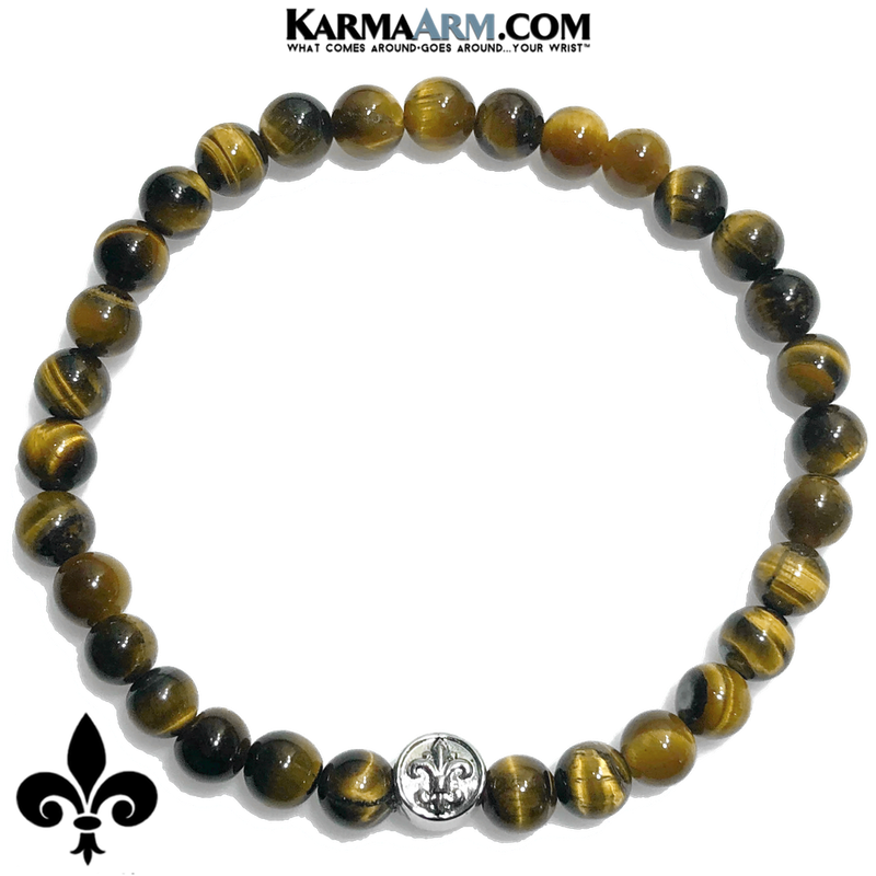 Fleur de Lis Meditation Mantra Yoga Bracelet. Self-Care Wellness Wristband Tiger Eye.