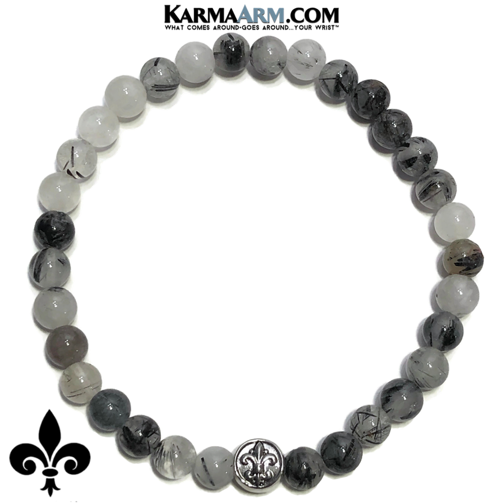 Fleur de Lis Meditation Mantra Yoga Bracelet. Self-Care Wellness Wristband Tourmaline Quartz.