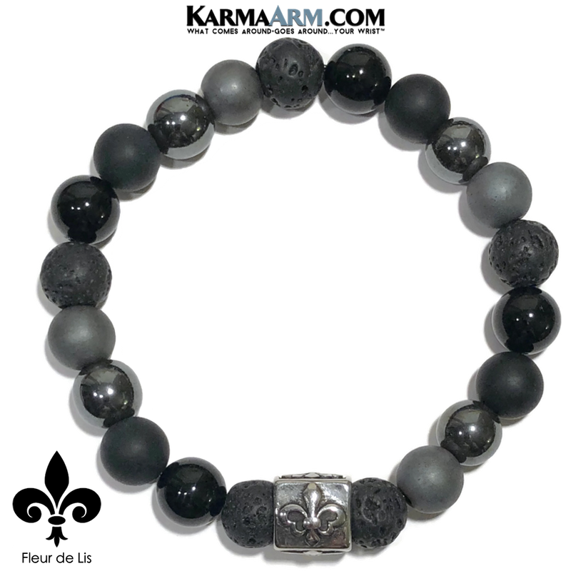 Fleur de Lis Meditation Self-Care Wellness Mantra Yoga Bracelets. Mens Wristband Jewelry. lava Onyx Hematite.