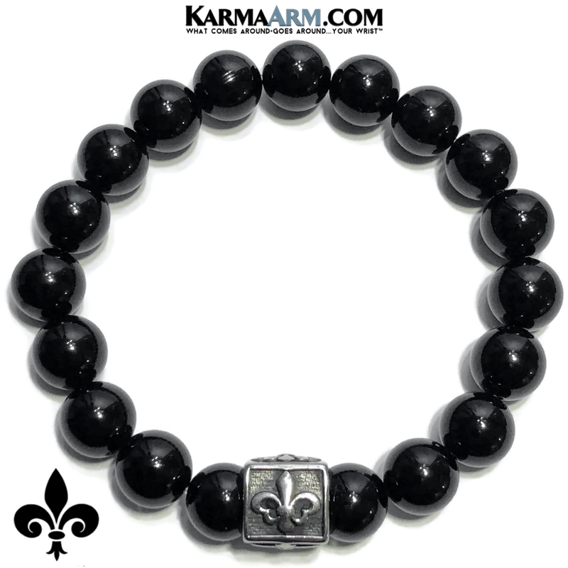 Fleur de Lis Meditation Self-Care Wellness  Yoga Bracelets. Mens Wristband Jewelry. Black Onyx.