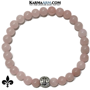 Fleur de Lis Meditation Self-Care Yoga Bracelet. Wellness Wristband Yoga Jewelry. Rose Quartz.