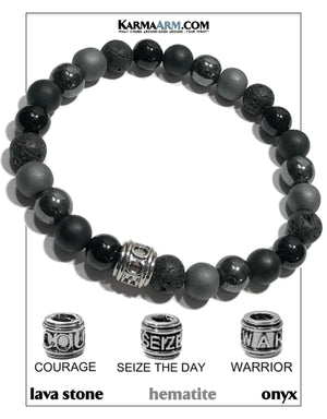 CARPE DEIM SEIZE THE DAY WARRIOR COURAGE Self-Care Wellness Meditation Mantra Yoga Bracelets. Mens Wristband Jewelry. Tiger Eye Onyx Hematite.